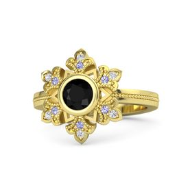 Round Black Onyx 14K Yellow Gold Ring with Tanzanite and White Sapphire