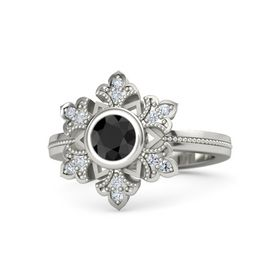 Round Black Diamond 18K White Gold Ring with Diamond