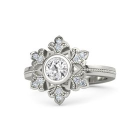 Round White Sapphire 18K White Gold Ring with Diamond