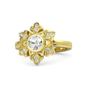 Round Rock Crystal 18K Yellow Gold Ring with White Sapphire
