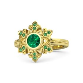 Round Emerald 18K Yellow Gold Ring with Emerald