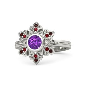 Round Amethyst Palladium Ring with Ruby and Red Garnet