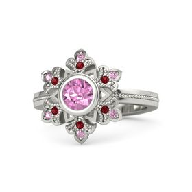 Round Pink Sapphire Palladium Ring with Ruby & Pink Sapphire