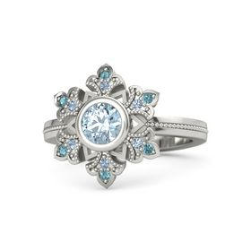 Round Aquamarine Palladium Ring with Blue Topaz & London Blue Topaz