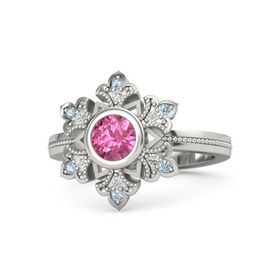 Round Pink Tourmaline Palladium Ring with White Sapphire and Aquamarine