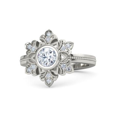 Round Diamond Platinum Ring with Diamond | Snowflake Ring ...