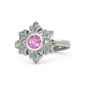Round Pink Sapphire Platinum Ring with London Blue Topaz & Blue Topaz