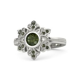 Round Green Tourmaline Platinum Ring with Green Tourmaline