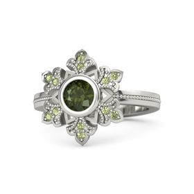 Round Green Tourmaline Platinum Ring with Peridot