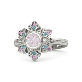 Round Rose Quartz Platinum Ring with London Blue Topaz and Pink Tourmaline