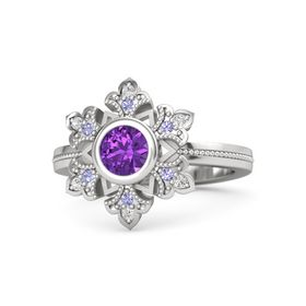 Round Amethyst Sterling Silver Ring with Tanzanite & White Sapphire