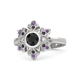 Round Black Diamond Sterling Silver Ring with Black Diamond & Amethyst