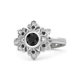 Round Black Diamond Sterling Silver Ring with Black Diamond and White Sapphire