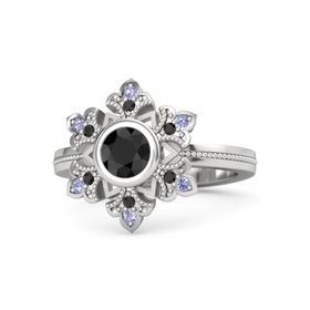 Round Black Diamond Sterling Silver Ring with Black Diamond and Tanzanite
