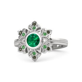 Round Emerald Sterling Silver Ring with Emerald & Green Tourmaline