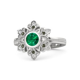 Round Emerald Sterling Silver Ring with Green Tourmaline & White Sapphire