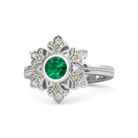 Round Emerald Sterling Silver Ring with Peridot and White Sapphire