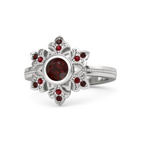 Round Red Garnet Sterling Silver Ring with Ruby & Red Garnet
