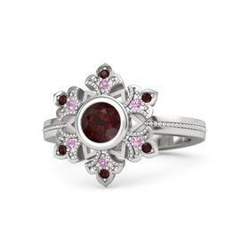 Round Red Garnet Sterling Silver Ring with Pink Tourmaline & Red Garnet