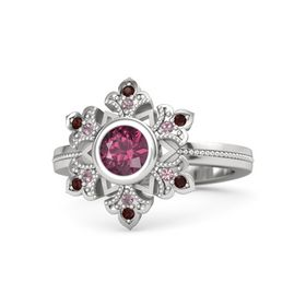 Round Rhodolite Garnet Sterling Silver Ring with Rhodolite Garnet & Red Garnet