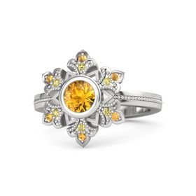 Round Citrine Sterling Silver Ring with Yellow Sapphire and Citrine