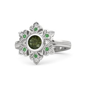 Round Green Tourmaline Sterling Silver Ring with Emerald and White Sapphire
