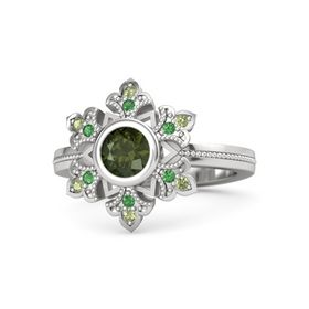 Round Green Tourmaline Sterling Silver Ring with Emerald and Peridot