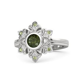Round Green Tourmaline Sterling Silver Ring with White Sapphire and Peridot