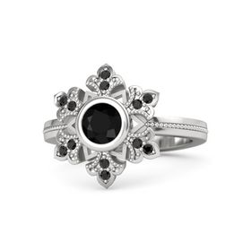 Round Black Onyx Sterling Silver Ring with Black Diamond