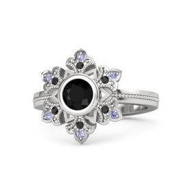 Round Black Onyx Sterling Silver Ring with Black Diamond & Tanzanite