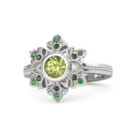 Round Peridot Sterling Silver Ring with Green Tourmaline and Emerald