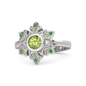 Round Peridot Sterling Silver Ring with Peridot & Emerald