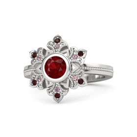 Round Ruby Sterling Silver Ring with Rhodolite Garnet and Red Garnet