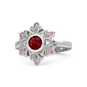 Round Ruby Sterling Silver Ring with Rhodolite Garnet and Pink Tourmaline