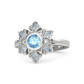 Round Blue Topaz Sterling Silver Ring with Aquamarine & Blue Topaz