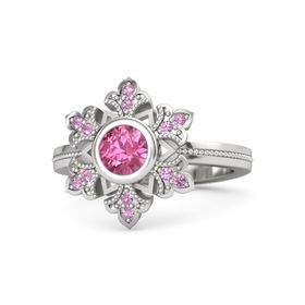 Round Pink Tourmaline Sterling Silver Ring with Pink Tourmaline