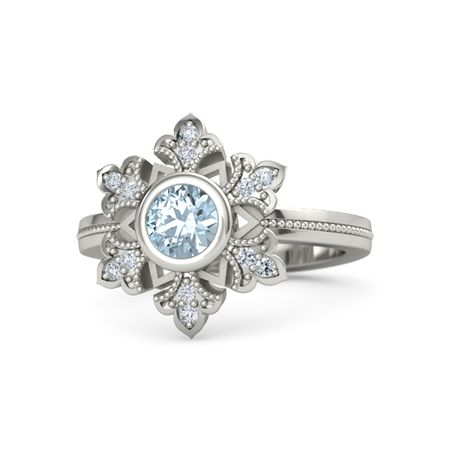 aqua colored aquamarine stone in white ring floral jewelry round rings wg cut with engagement gold halo blue nl side
