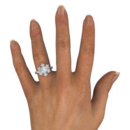 Snowflake Enement Ring   Round Aquamarine 14k White Gold Ring With Diamond Snowflake Ring