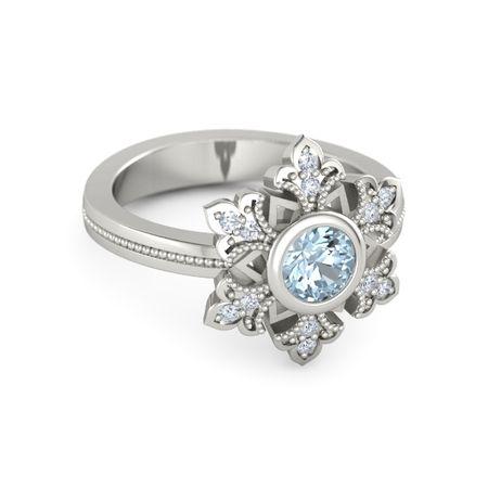 Round Aquamarine 14K White Gold Ring with Diamond ...