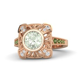 Round Green Amethyst 14K Rose Gold Ring with White Sapphire and Green Tourmaline