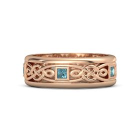 Men's 14K Rose Gold Ring with London Blue Topaz