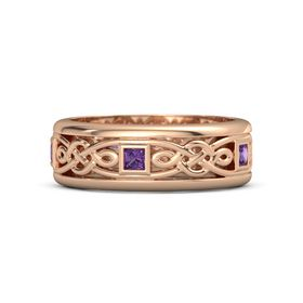 Men's 14K Rose Gold Ring with Amethyst