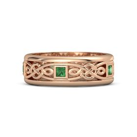 Men's 14K Rose Gold Ring with Emerald