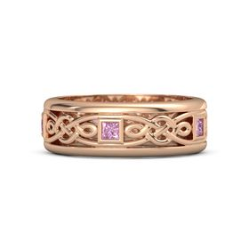 Men's 14K Rose Gold Ring with Pink Sapphire