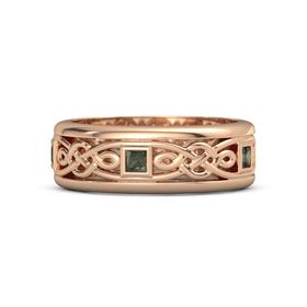Men's 14K Rose Gold Ring with Green Tourmaline