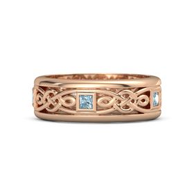 Men's 14K Rose Gold Ring with Aquamarine