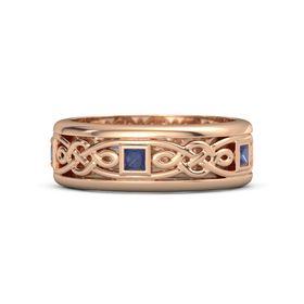 Men's 14K Rose Gold Ring with Sapphire
