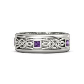 Men's 14K White Gold Ring with Amethyst