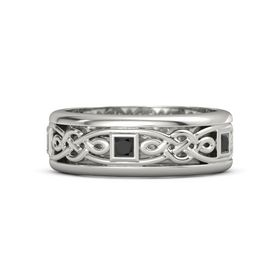 Men's 14K White Gold Ring with Black Diamond