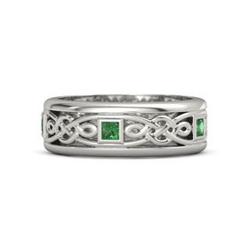 Men's 14K White Gold Ring with Emerald
